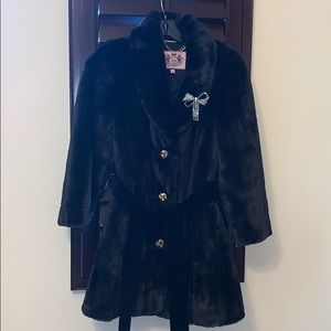Juicy couture faux fur belted coat